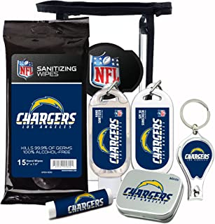 LA Chargers Gifts 6-Piece Fan Kit with Decorative Mint Tin, Nail Clippers, Hand Sanitizer, SPF 15 Lip Balm, SPF 30 Sunscreen, Sanitizer Wipes. NFL Football Gifts for Men and Women