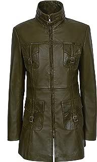 Mistress Ladies Olive Green Vintage Washed Gothic Style Real Leather Jacket Coat 1310