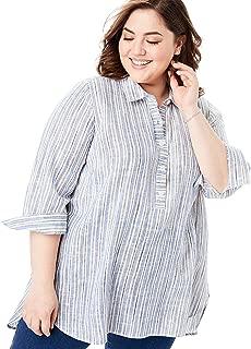 Women's Plus Size Linen Popover Tunic