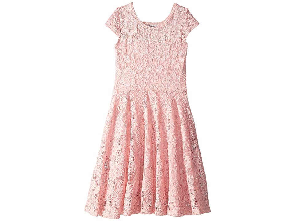 fiveloaves twofish Aurora Lace Cap Sleeve Skater Dress (Big Kids) (Pink) Girl