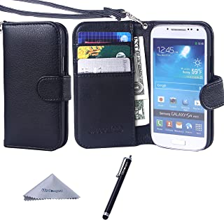 Wisdompro S4 Mini Case, Premium PU Leather 2-in-1 Protective Folio Flip Wallet Case with Credit Card Holder Slots and Wrist Lanyard for Samsung Galaxy S4 Mini (NOT S4 FIT) -Black with Lanyard