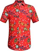 SSLR Men's Santa Claus Holiday Party Hawaiian Ugly Christmas Shirt