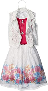 Beautees Girls' Big Two Piece Moto Vest and Dress
