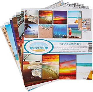 Reminisce ATB-200 at The at The Beach Scrapbook Collection Kit, Multicolor Palette