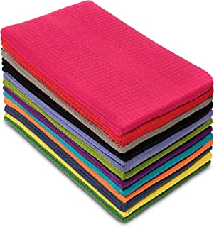 Cotton Craft 12 Pack Multicolor Kitchen Towels 16x28 Inches- Pure Cotton, Absorbent Waffle Weave