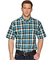 Short Sleeve Plain Weave Plaid Double Pocket