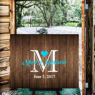 CELYCASY Rustic Wood Pallet Monogram Wedding Welcome Sign Guest Book Alternative Guest Book Wedding Guestbook Alternative Custom Wood Guest Book #WS3