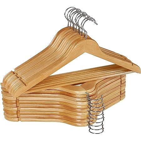 natural trajes percha para chaqueta para ropa con muescas para falda y barra para pantalones 10 piezas gancho giratorio de 360 grados Perchas de madera percha para traje chaquetas y pantalones