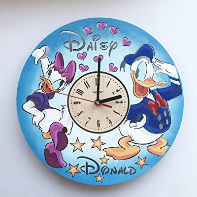 7artsstudio Painted Daisy And Donald Duck Wall Clock Made Of Wood Perfect And Beautifully Cut Decorate Your Home With Modern Art Unique Gift For Him And Her