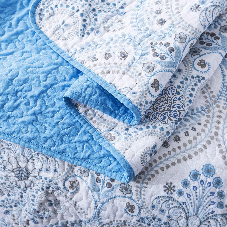 NEWLAKE Cotton Bedspread Quilt Sets-Reversible Patchwork Coverlet Set Blue Classic Royal Pattern Queen Size