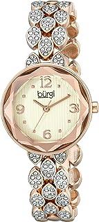 Burgi Women's BUR124 Swarovski Crystal Accented Faceted Bracelet Watch