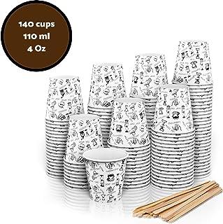 140 Vasos Carton Desechables para Café Espresso 110 ml con