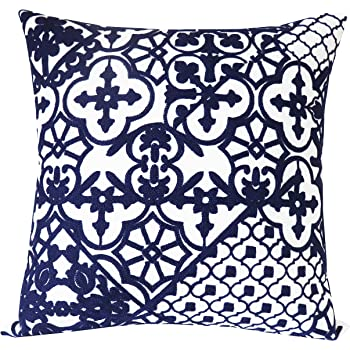 SLOW COW Cotton Embroidery Decorative Throw Pillow Cover Navy Kaleidoscope Design Pattern Cushion Cover 18x18 Inches