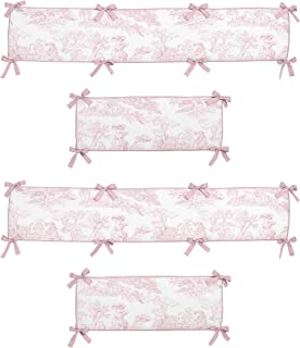 Sweet Jojo Designs Pink French Toile Collection Crib Bumper