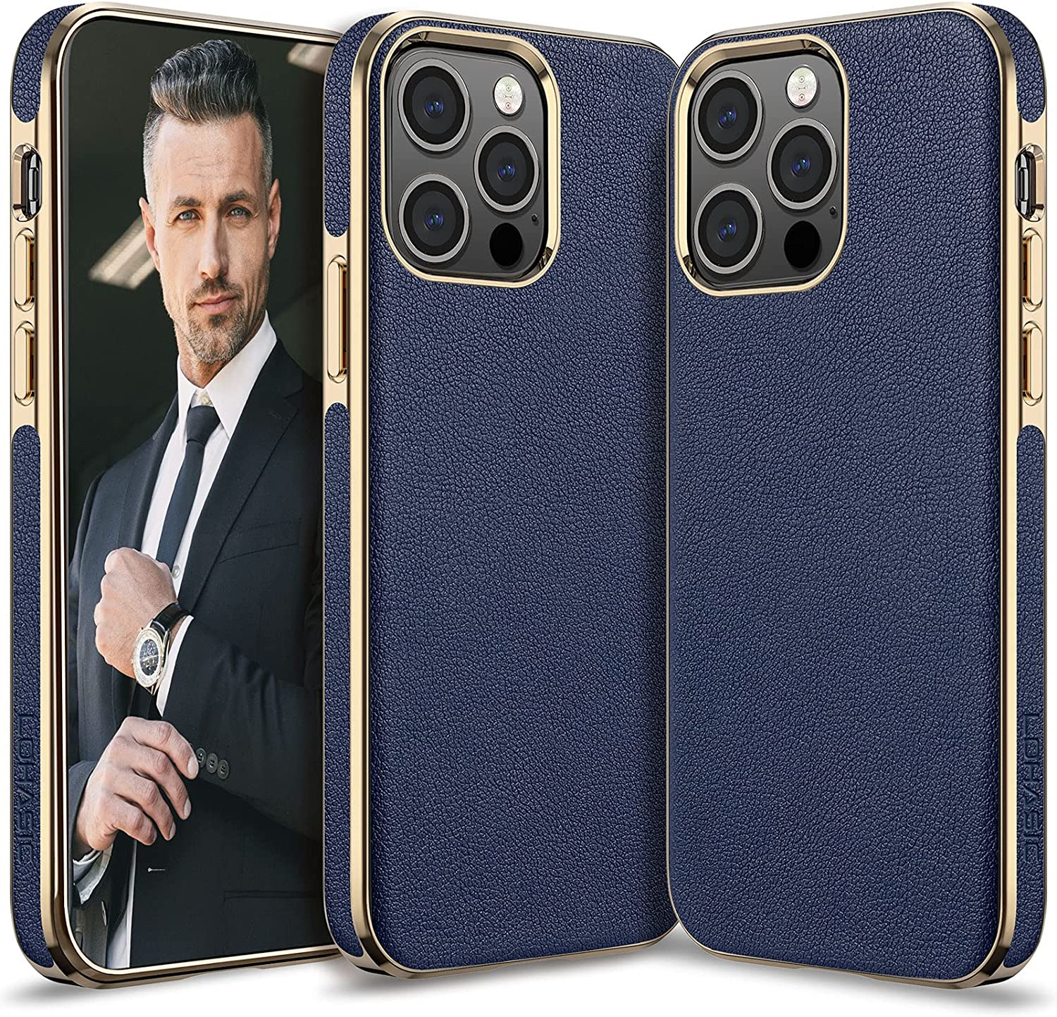 LOHASIC for iPhone 13 Pro Max Case Men, Phone Cover Women PU Leather Elegant Classy Business Slim Full Body Protective Shockproof Non-Slip Anti-Scratch Soft Grip Bumper 6.7 Inch 2021 Blue