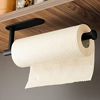 ZUNTO Porte-rouleau de cuisine – Porte-papier auto-adhésif pour cuisine sans perçage, acier inoxydable noir