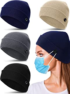 Syhood 4 Pieces Winter Knit Beanie Hat with Buttons Warm Knitted Skull Cap Unisex Stretchy Button Beanie Caps for Women Men