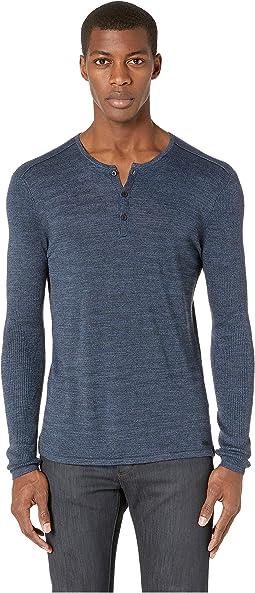 Sean Long Sleeve Melange Linen Henley Y1869V1B