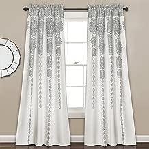 (gray, 84x52) - Stripe Medallion Room Darkening Window Curtain Set