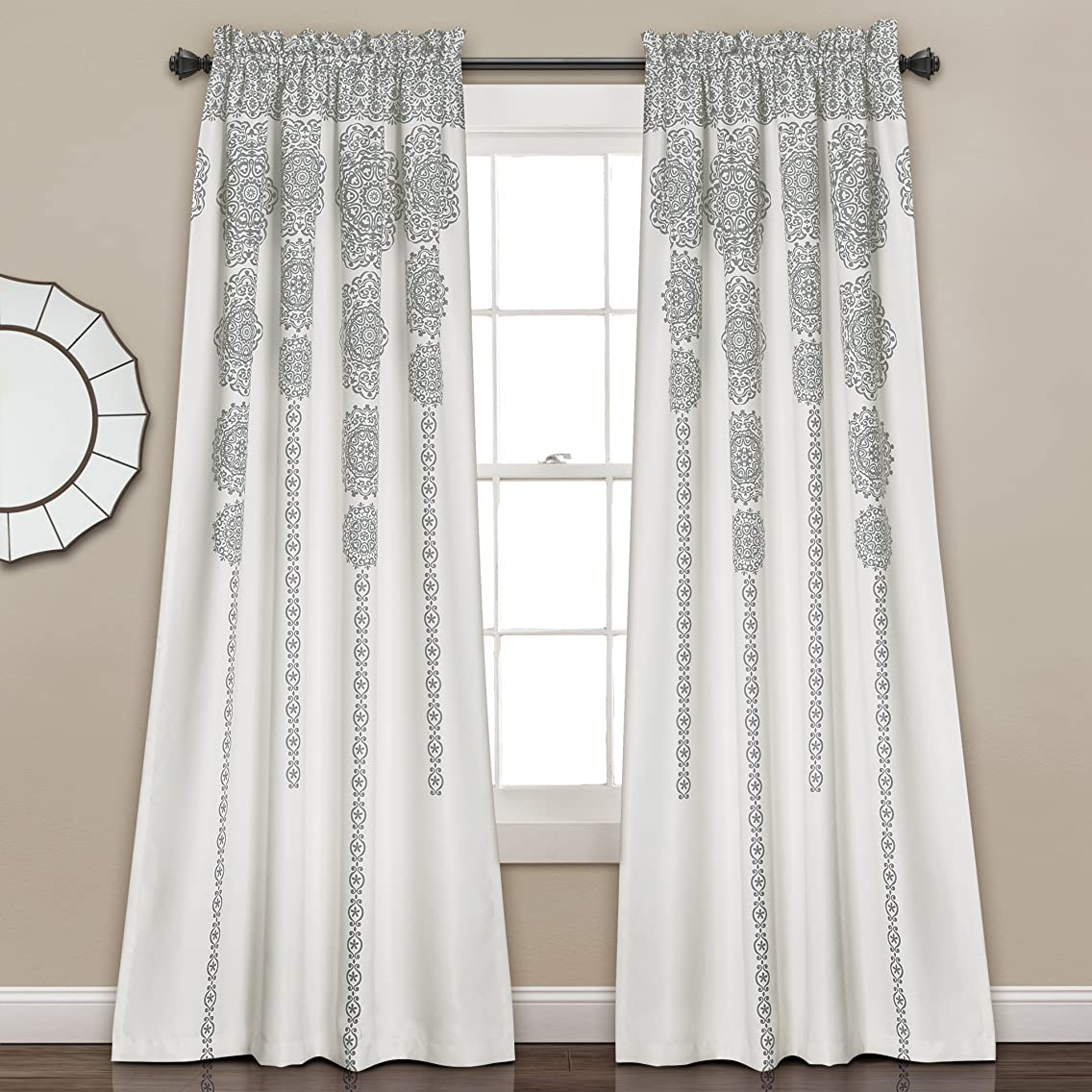Lush Decor Stripe Medallion Room Darkening Window Curtain Panel Pair Set, 84