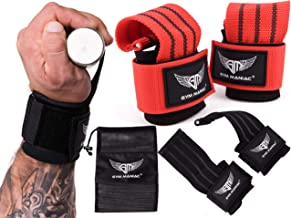 Gym Maniac GM Lifting Straps - Wrist, Hand, Palm Assist Gear for Pull Up Bar, Weights, Barbell, Crossfit, Deadlift - Strong Adjustable Grips with Metal Wedge for Men and Women - 5.5