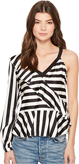 Nicole Miller - Getaway Stripe Simone One-Shoulder Top