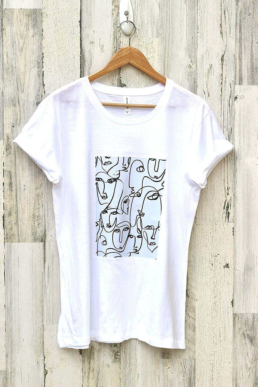 Large special price !! Women OFFicial site Custom Abstract White T-Shirt