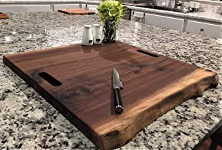 Black Walnut Ultra Large, Gorgeous, Forest-to-Table Solid Double Live Edge Wood Charcuterie/Appetizer/Sushi/Dessert/Grazing Board/Serving Platter. 100% USA Handcrafted. About 22 x 20 x 1.25