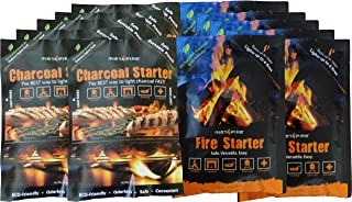 InstaFire Eco-Friendly Combo Pack of Granulated Single Use Fire Starter and Charcoal Starter Pouches