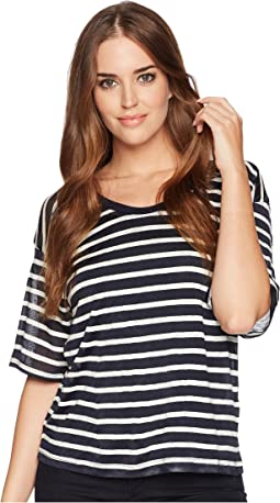 Linen Shadow Stripe Wide Neck Tee