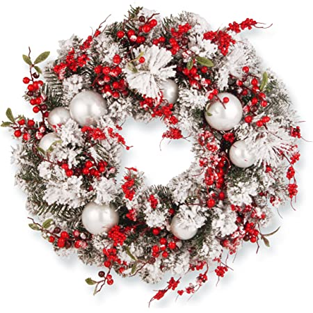 Amazon Com National Tree Company Artificial Christmas Wreath Flocked With Red And White Mixed Decorations 24 Inch Holiday Home Kitchen