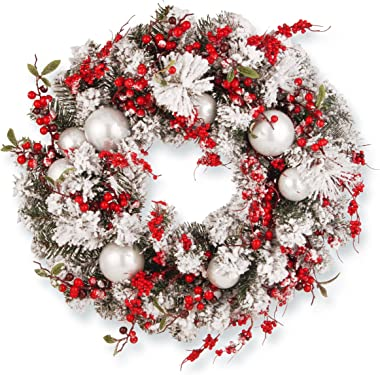 National Tree Company Artificial Christmas Wreath - Flocked Red and White Mixed Decorations-Holiday-24 Inch