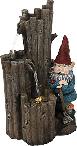 wholesale Sunnydaze Resting Gnome Outdoor Water Fountain with LED Light high quality - Exterior Standing Water Feature - Corded Electric - Ideal for outlet online sale Deck, Yard, Balcony and Landscaping - 17-Inch online