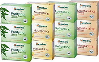 Himalaya Cleansing Bar Soaps Variety Pack, Neem & Turmeric, Almond, Cream & Honey and Cucumber, 4.41Oz/125g (12 Pack)
