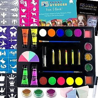 Face Paint Kit for Kids - Trendy Makeup Kit - Includes Makeup Sponge, Palette, Body Glitter - Professional Painting Kit - 30 Stencils, 11 Colors, 3 Glitters, 5 Crayons, 4 Sponges, 4 Glow Paints