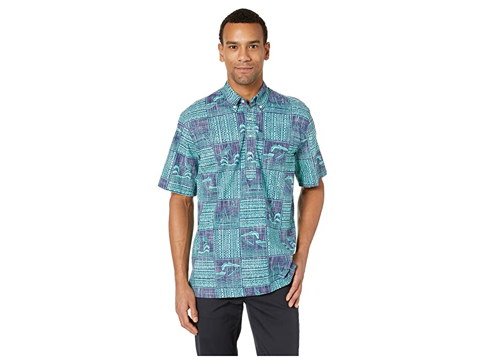 Reyn Spooner Oceans Playground Classic Fit Pullover Hawaiian Shirt (Medieval Blue) Men