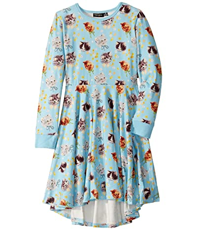 Rock Your Baby Kittens Galore Long Sleeve Waisted Dress (Toddler/Little Kids/Big Kids) (Blue) Girl