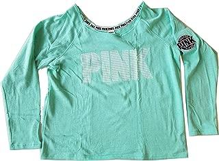 Victoria's Secret PINK Off Shoulder Crew Sweatshirt Large Seafoam Blue