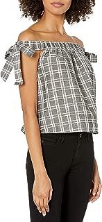 MINKPINK Women's Checkered Print Off The Shoulder Tie Top