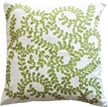 Blue Dolphin Green Vine Embroidery Decorative Throw Pillow Cover 18 Green White