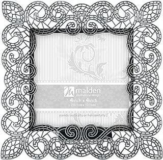 Malden International Designs Sabella Lace Metal Picture Frame, 4x4, Silver