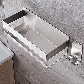 RUICER Étagère de douche sans perçage – Panier de douche avec crochet autocollant Étagère de douche en acier inoxydable po...