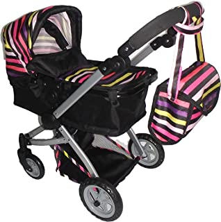 Babyboo Deluxe Doll Pram with Swiveling Wheels & Adjustable Handle & Free Carriage Bag