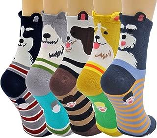 Women's Dog Dogs Cat Cute Animal Cotton Crew Novelty Liner Socks US size 5-11