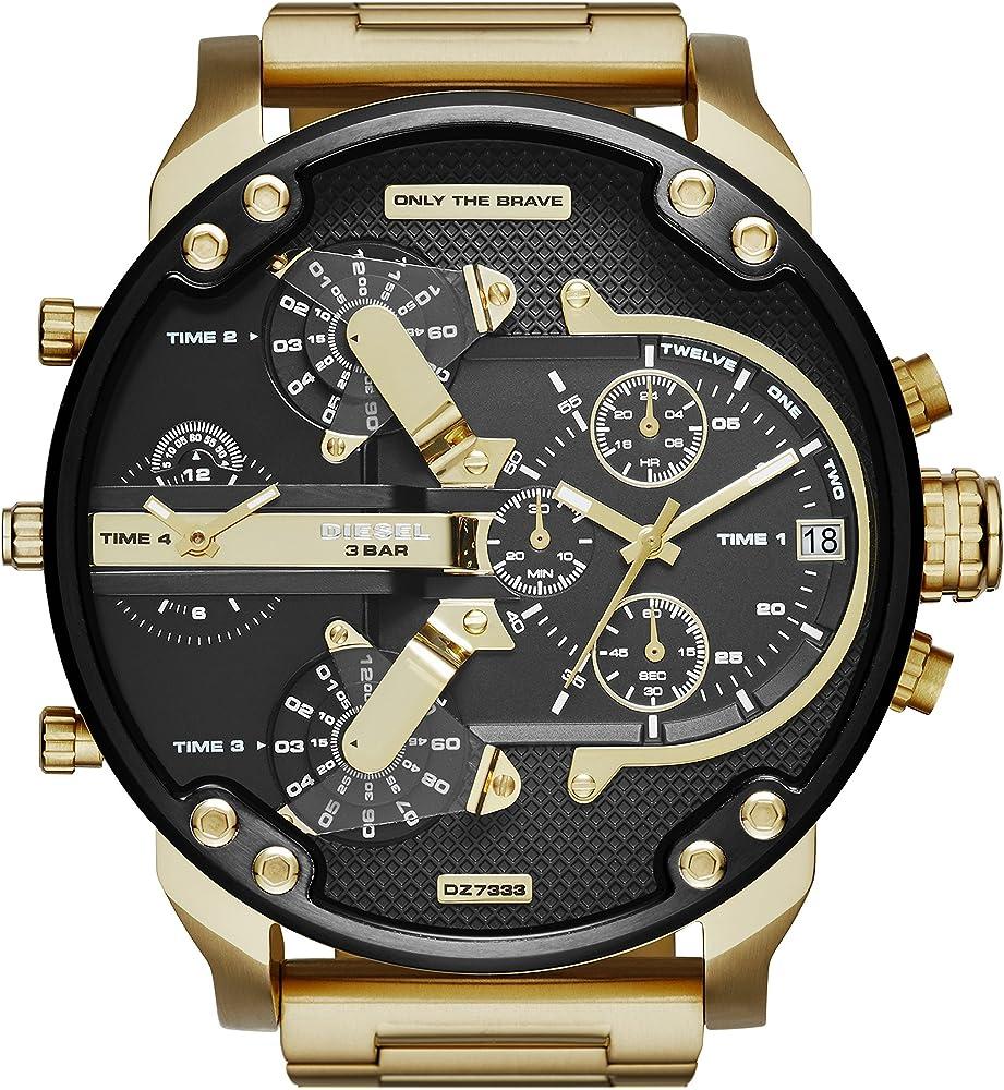 Diesel orologio cronografo da uomo con placcatura dorata e nero lucido,in acciaio inossidabile DZ7333