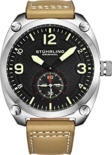 Stuhrling Original Men's 581.02 Aviator Quartz Stainless Steel Watch with Beige Leather Strap Featuring Seconds Sub-dial
