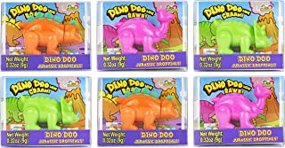 Set of 6 Dino Doo Mini Candy Dispensers! Features Dinosaurs Such as Triceratops, Stegosaurus, and Brontosaurus! Perfect for Birthday Parties, Feild Trips, Road Trips, and More!