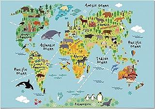 Panorama® Póster Infantil para habitación Mapa Mundi Niños Animal 30x21cm - Impreso Papel 250g - Láminas para Enmarcar - Cuadros Infantiles - Cuadros para habitación bebés - Decoración habitación bebé