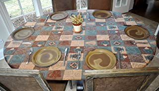 Covers For The Home Deluxe Elastic Edged Flannel Backed Vinyl Fitted Table Cover - Global Coffee Pattern - Oblong/Oval - Fits Tables up to 48