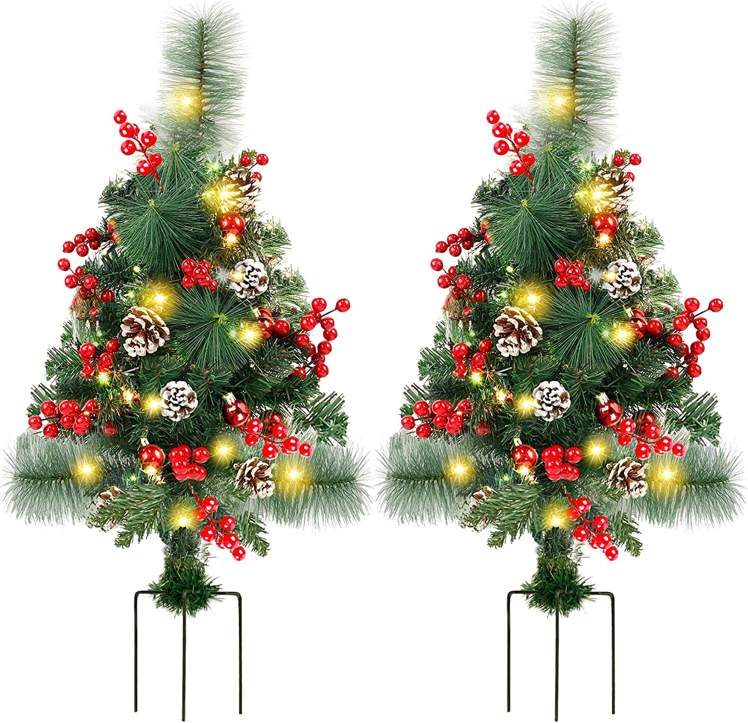Lulu Home 2 Pack 2 Ft Pre-Lit Pathway Christmas Trees with Stake, Battery Operated 60 LED Lighted Small Christmas Trees Yard Stake Outdoor Decoration with Red Berries, Red Balls, Pine Cones